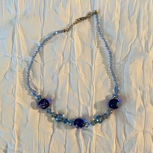 Handmade glass beaded necklace! Blue glass beads!